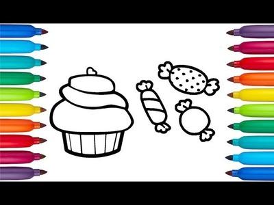 Dibuja y Colorea | Dulces de Colores del Arcoíris | Dibujos Para Niños
