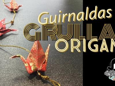 Guirnaldas de grullas origami y la leyenda de las mil grullas de papel