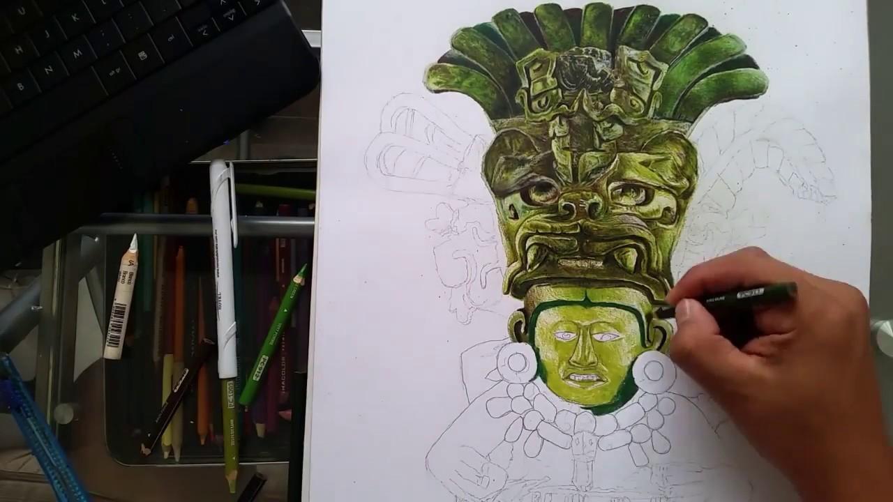 Tutorial como dibujar una urna cultura zapoteca cultura mexicana | tutorial dibujo realisto 2017
