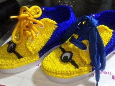Zapatos tejidos a crochet modelo Minion  Zapatos de Minions