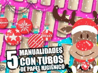 5 MANUALIDADES CON TUBOS DE PAPEL HIGIÉNICO PARA NAVIDAD|Manualidades Reciclaje|DIY