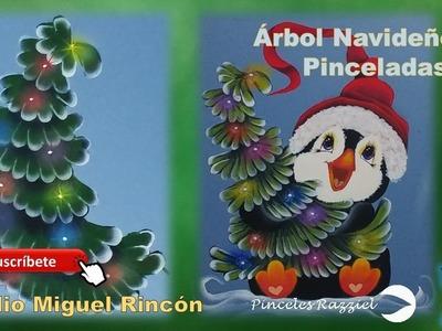 Árbol Navideño (Christmas tree) en pincelada con Miguel Rincón.