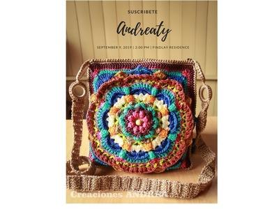 BOLSO. CARTERA  Tejida a crochet -paso a paso. Mandala