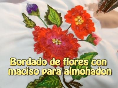 Bordado de flores con maciso para almohadon |Creaciones y manualidades angeles