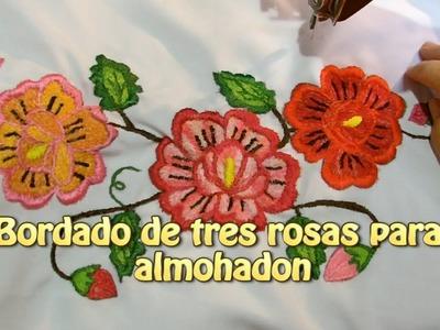 Bordado de tres rosas para almohadon |Creaciones y manualidades angeles