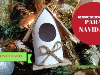 Casitas navideñas con tubos de papel higienico | manualidades para navidad