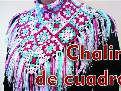 CHAL DE CUADROS. CHALINA CON CUADROS DE CROCHET