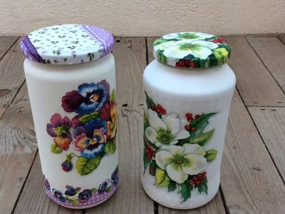 Cómo reciclar frascos de vidrio con decoupage.how to recycle glass jar with decoupage (eng sub)