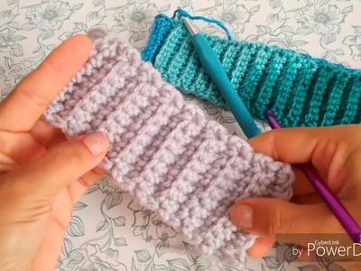 COMO TEJER RESORTE O BANDA PARA GORROS EN PUNTO COSTILLA  a Crochet