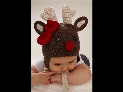 Crochet gorros de Navidad de bebé con renos, Papá Noel, muñeco de jengibre tejidos con ganchillo