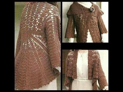 Crochet tutorial chaqueta dos posturas saco facil how to do jacket ( subtitles several lenguage)