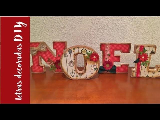 DIY home decor navideño: letras de cartón decoradas.