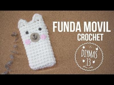 Funda movil de crochet - Oso polar