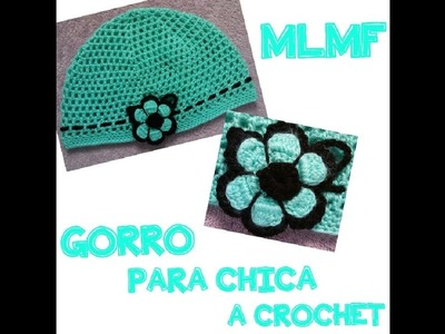 GORRO CON FLOR A CROCHET - Manualidades La Manita Felíz