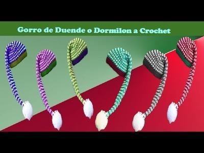 Gorro Navideño de  Dormilón o duende  crochet con punto diagonal en 3D