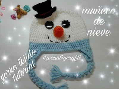 Gorro tejido muñeco de nieve  . Snowman crochet hat