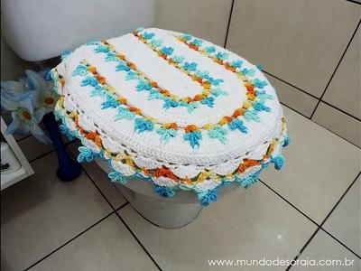 Hermosa tapa de baño tejida al crochet