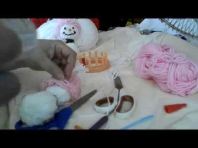Parte3 Como hacer un Muñeco nieve tejido con telar circular.how to make a snow man
