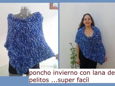 Poncho Invierno en lana de pelitos Crochet