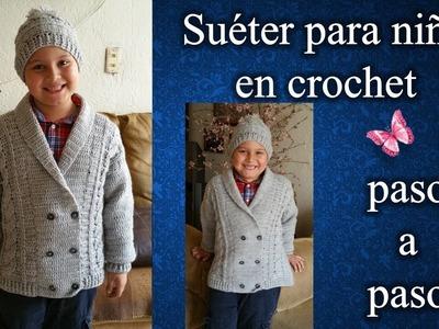 SUETER PARA NIÑO en crochet PASO A PASO  2 de 2