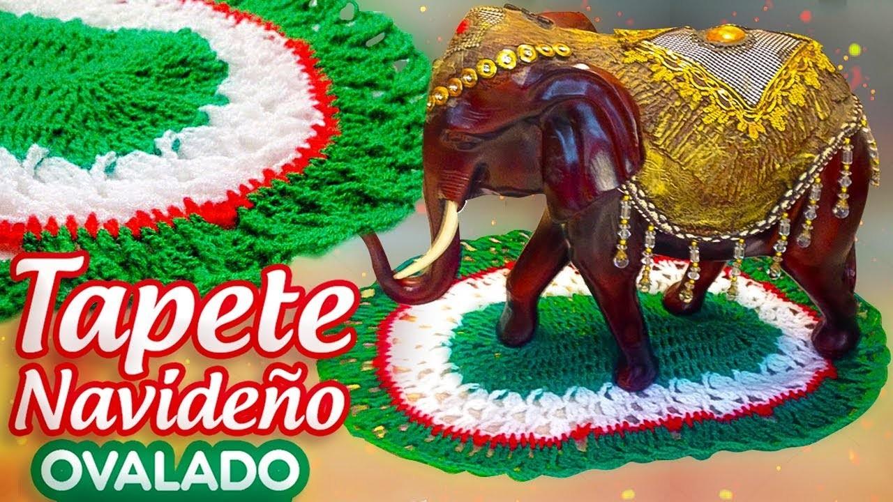 TAPETE NAVIDEÑO OVALADO A CROCHET   Canela♥