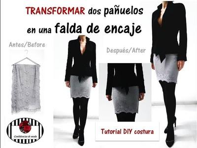 Transformar dos pañuelos en una falda de encaje. DIY (patrones y costura).