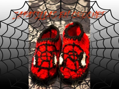Zapatillas en Crochet Spiderman (Ganchillo)