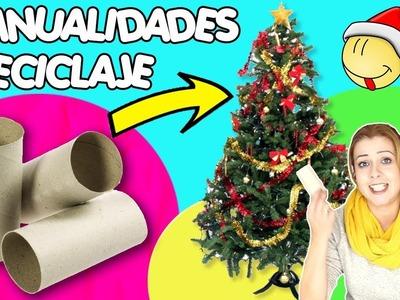 Adornos de navidad con tubos de papel higiénico | Manualidades de Navidad con reciclaje