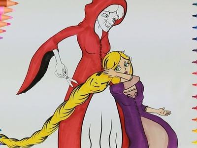 Aprender Colores Con Princesa Rapunzel  | Manos pequeñas Dibujos para Colorear.