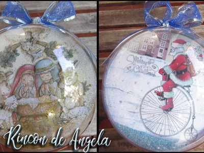 Bola de metacrilato con decoración navideña de decoupage 3d-Conideade