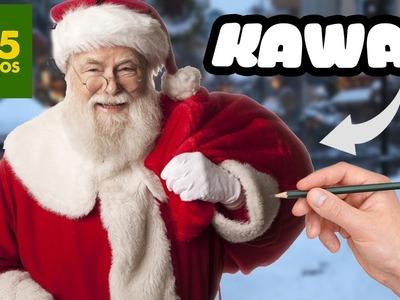 COMO DIBUJAR A SANTA CLAUS KAWAII - Como dibujar Kawaii para Navidad