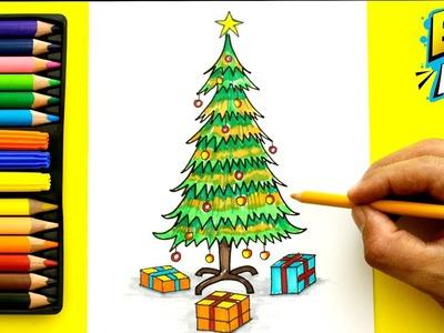 Como Dibujar un Árbol de Navidad - how to draw a Christmas tree - Easy Art