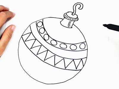 Cómo dibujar un Bola de Navidad paso a paso   Bola Navideña