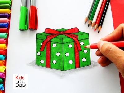 Cómo dibujar un REGALO de Navidad de manera fácil   How to Draw a Christmas Present