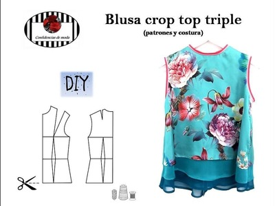 Cómo hacer una blusa de satén y seda (crop top triple). DIY (patrones y costura)