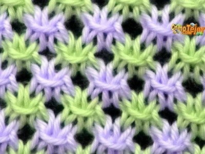 Cómo Tejer PUNTO CALADO en COLORES - Knit Stitch  Colors - 2 agujas (466)