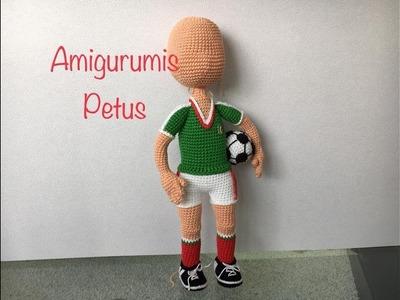 Como terminar de tejer cabeza muñeco futbolista amigurumis Petus SEPTIMA PARTE