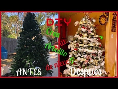 DIY|Como hice mi arbol de navidad de nieve.How to flock a Christmas tree.