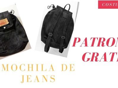 DIY Mochila de Jeans escolar. Costura Diy