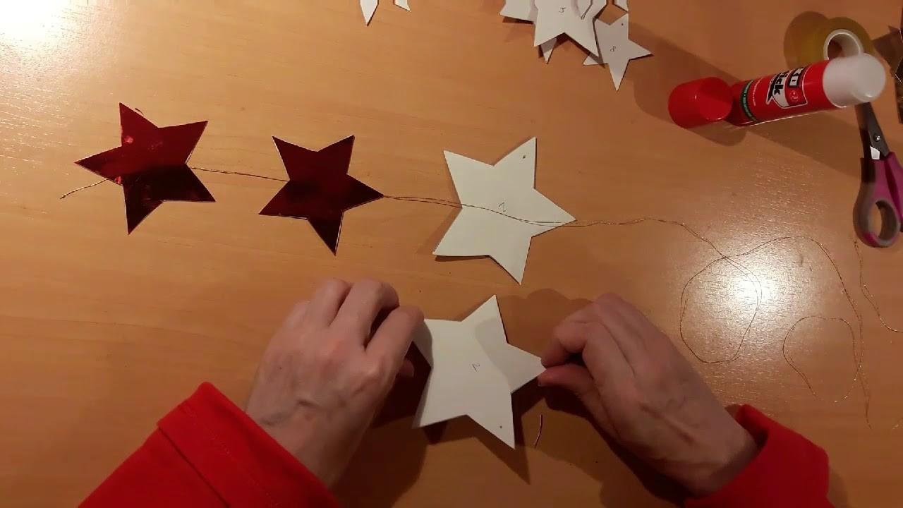 Guirnaldas de estrellas con cartulina metalizada. Muy fácil.DIY