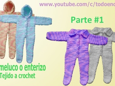 Mameluco tejido para bebe a crochet  - punto lluvia parte #1. para bebes de 3 a 9 meses de edad