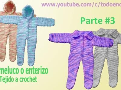 Mameluco tejido para bebe a crochet  punto lluvia parte #3. para 3 a 9 meses de edad