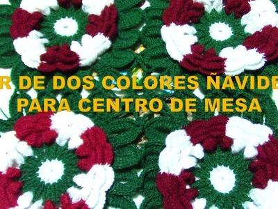 ROSA DE DOS A COLORES A CROCHET para carpeta o centro de mesa NAVIDEÑO paso a paso