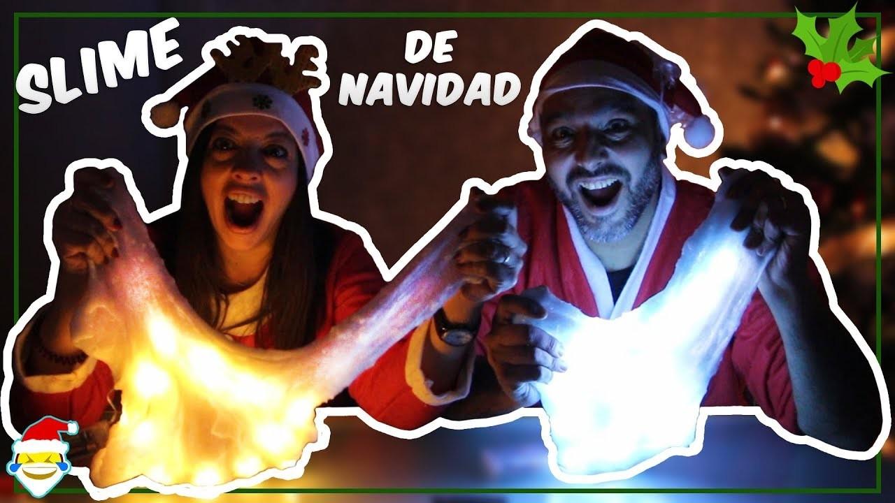 ????SLIME DE NAVIDAD CON LUCES ❄ MAKING XMAS SLIME DIY!!