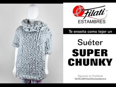 Suéter tejido con estambre Super Chunky