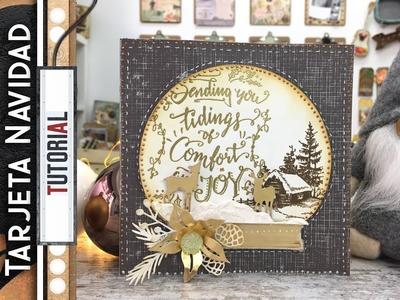 Tarjeta Navidad color combo: Gris, blanco y dorado.