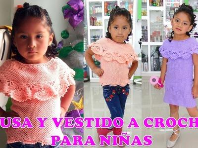 Vestido y Blusa a crochet para Niñas con Olan paso a paso INDICACIONES TODAS LAS TALLAS