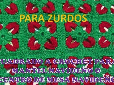 ZURDOS: Cuadrado a crochet para MANTELES Y CENTROS DE MESA NAVIDEÑOS