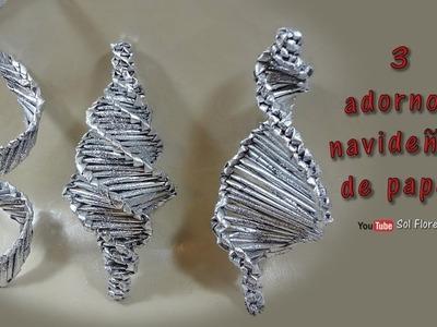 3 adornos navideños de papel – 3 paper Christmas decorations