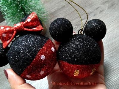 Adornos. Esferas de Mickey y Minnie Mouse * Navidad * ????- Brotes de Creatividad